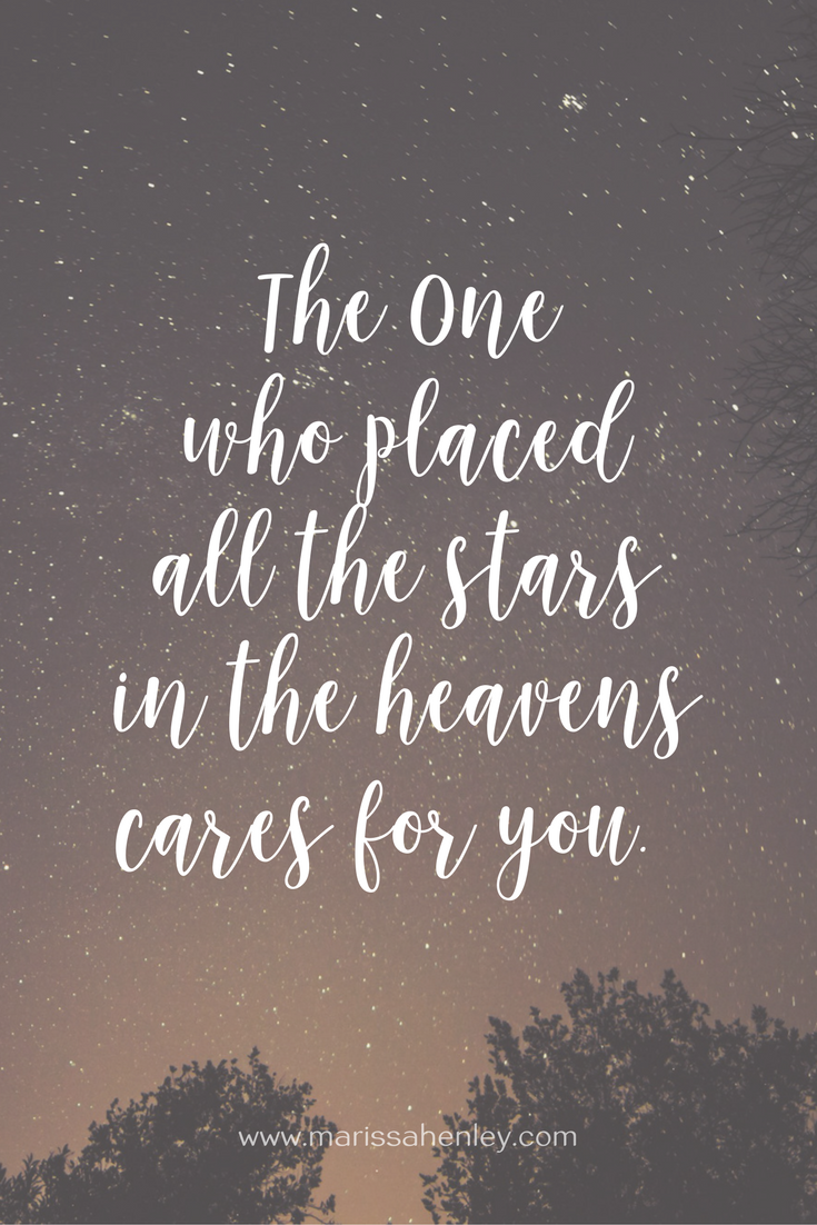 The One who placed the stars in the heavens cares for you. Biblical encouragement, Scripture, and devotionals for women.